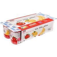Yogur de fresa-plátano-limón EROSKI basic, pack 8x125 g