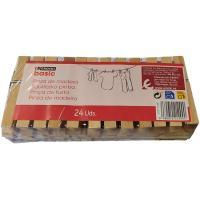 Pinzas para tender la ropa de madera EROSKI, paquete 24 uds