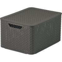 Caja de plástico con tapa color chocolate Style, 30 litros,442x332x236mm