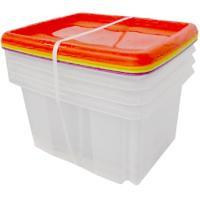 Caja de plástico con tapas de colores, 4 unids, 24 litros, 330x410x330mm