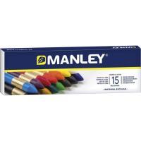 Pintura de cera blanda 15 colores surtidos MANLEY, caja 15 uds