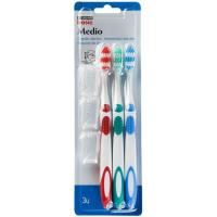 Cepillo dental medio EROSKI basic, pack 3 unid.