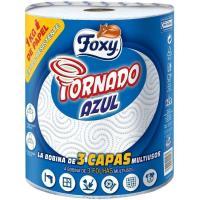Papel de cocina tornado azul 3 capas FOXY, paquete 1=15 rollos