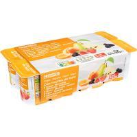 Yogur con fresas-albaricoque-pera-mora EROSKI, pack 8x125 g