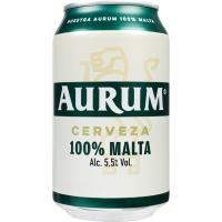 Cerveza 100% Malta AURUM, lata 33 cl