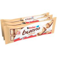 Barrita de chocolate blanco KINDER Bueno, pack 3x42 g