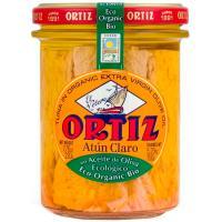 Atún claro en aceite oliva ecológico ORTIZ, frasco 220 g