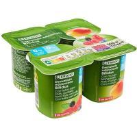 Biactive 0% con mango-frutos rojos EROSKI, pack 4x125 g