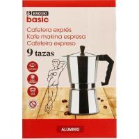 Cafetera Italiana de Aluminio, apto para cocinas eléctricas, gas y vitrocerámica, EROSKI, 9 tazas