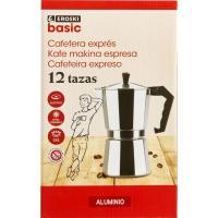 Cafetera Italiana de Aluminio, apto para cocinas eléctricas, gas y vitrocerámica, EROSKI, 12 tazas