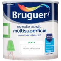 Esmalte acrílico mate blanco permanente BRUGUER, 250ml