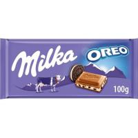 Chocolate con leche-oreo MILKA, tableta 100 g