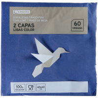 Servilletas azules 2 capas 40x40 EROSKI, paquete 60 unid.