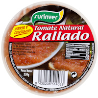 Tomate natural rallado SURINVER, tarrina 230 g