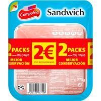 Jamón York cocido para sandwich CAMPOFRÍO, pack 2x150 g