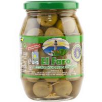 Aceitunas sabor manzanilla con hueso eco EL FARO, frasco 200 g