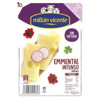 Queso Emmental sin lactosa M. VICENTE, lonchas, bandeja 100 g
