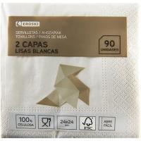 Servilletas cocktail 2 capas 24x24 EROSKI, paquete 90 unid.