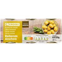Aceitunas rellenas de anchoa EROSKI, pack 6x50 g