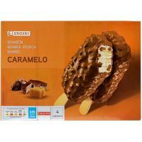 Bombones caramelo choco EROSKI, pack 4x90 ml