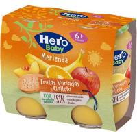 Merienda de frutas con galleta HERO, pack 2x190 g