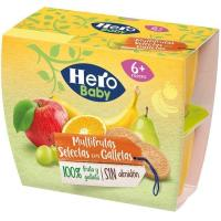 Todo fruta multifruta con galleta HERO, pack 4x100 g