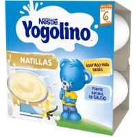 Yogolino de natillas sabor vainilla NESTLÉ, pack 4x100 g