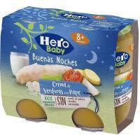 Potito de crema de verd.-rape HERO Buenas Noches, pack 2x190 g