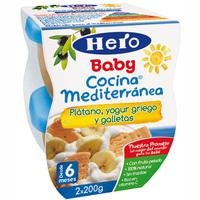 Cocina mediterránea de frutas-yogur-galleta HERO, pack 2x100 g