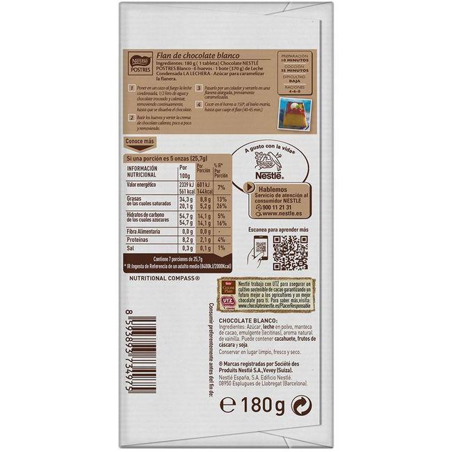 Chocolate blanco para postres NESTLÈ, tableta 180 g