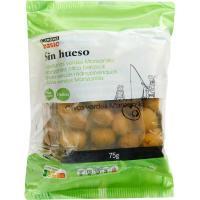Aceitunas verdes sin hueso EROSKI basic, pack 3x75 g