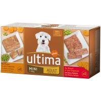 Alimento de buey-pollo perro mini adulto ULTIMA, pack 4x150 g