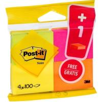 Notas adhesivas de 51x38mm, 4 colores de 100 hojas por color POST-IT, 3+1 gratis