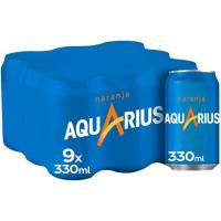Bebida isotónica de naranja AQUARIUS, pack 9x33 cl