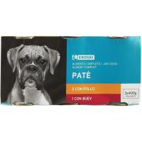 Patés surtidos para perro EROSKI, pack 3x400 g