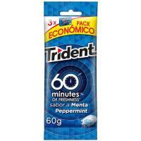 Chicle de menta sin azúcar TRIDENT 60 Minutos, pack 3x20 g