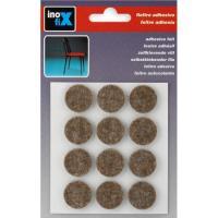 Fieltro adhesivo redondo marrón 22x3mm INOFIX, 12uds