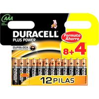Pila alcalina AAA + Power DURACELL, pack 8+4 unid.