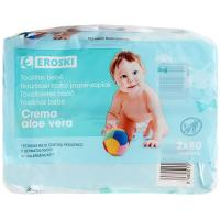 Toallitas de bebé con aloe vera EROSKI, paquete 160 uds.