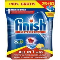 Lavavajillas máquina limón FINISH Todo en 1, bolsa 25+10 dosis