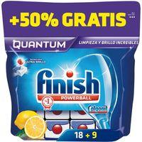 Lavavajillas máquina limón FINISH Quantum MAX, bolsa 18+9 dosis