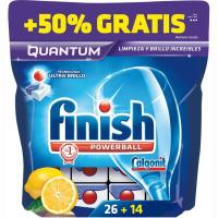 Lavavajillas máquina limón FINISH MAX Quantum, bolsa 26+14 dosis