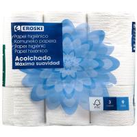 Papel higiénico acolchado EROSKI, paquete 9 rollos