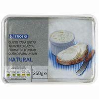 Queso para untar natural EROSKI, tarrina 250 g