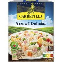 Arroz 3 delicias CARRETILLA, bandeja 250 g