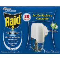 Antimosquitos líq. eléctrico 30 noches RAID, aparato + recambio