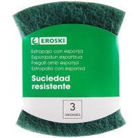 Estropajo verde con esponja EROSKI, pack 3 unid.