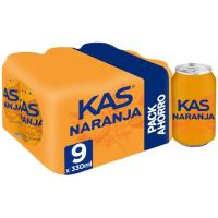 Refresco de naranja KAS, pack 9x33 cl
