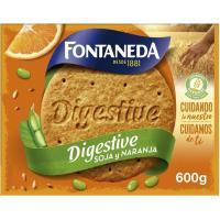 Galleta Digestive de soja sabor naranja FONTANEDA, caja 600 g