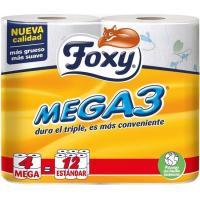 Papel higiénico FOXY Mega 3, paquete 4=12 rollos